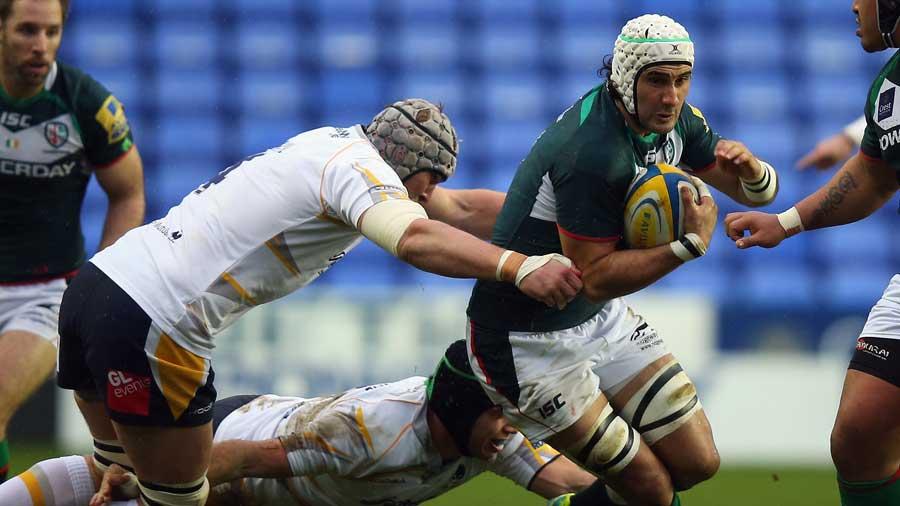 London Irish's Blair Cowan tries to force his way forward