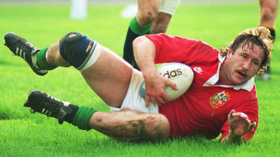 British Lions' Mike Teague crashes over