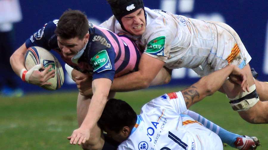Gloucester's Freddie Burns is floored by the Perpignan defence