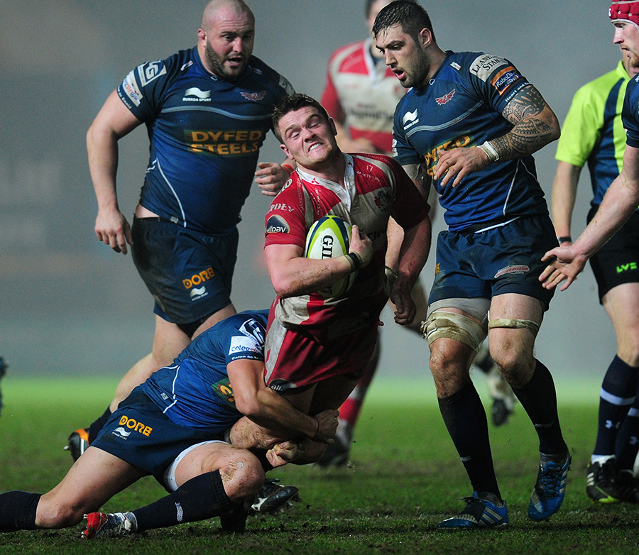 Gloucester scrum-half Travis Knoyle runs into stubborn Scarlets defence