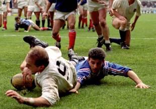England's Dewi Morris slides over, France v England, Five Nations, Parc des Princes, February 15, 1992