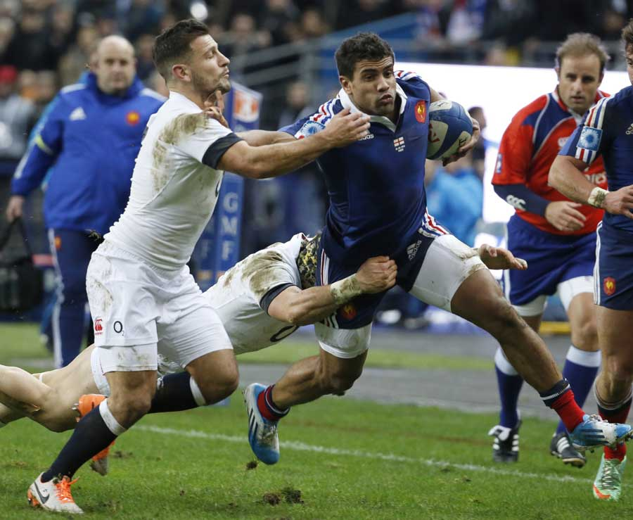 France's Wesley Fofana attempts to dance past Danny Care