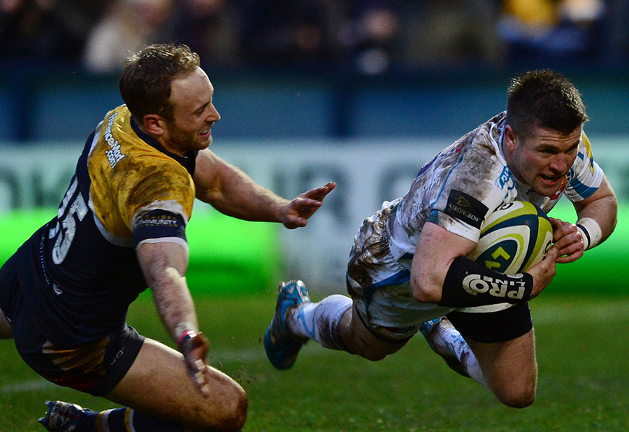 Exeter's Ceri Sweeney dives over to complete a resounding 42-3 win over Worcester