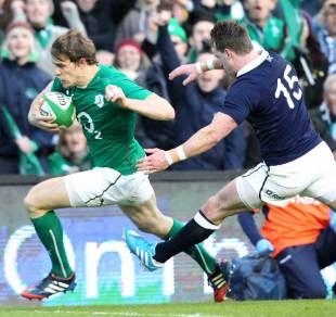 Ireland's Andrew Trimble darts over for the game's opening try, Ireland v Scotland, Six Nations, Aviva Stadium, Dublin, Ireland, February 2, 2014