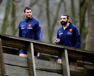 France skipper Lionel Nallet and fellow lock Sebastien Chabal arrive for France training ahead of the Six Nations at Marcoussis, France, January 26 2009