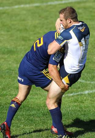The Brumbies' Pat McCabe take a tackle, Highlanders v Brumbies, Super Rugby pre-season trial, Queenstown Sports Ground, Queenstown, January 31, 2013