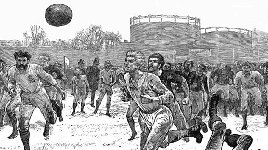 contemporary drawing of the first rugby international in England on ...