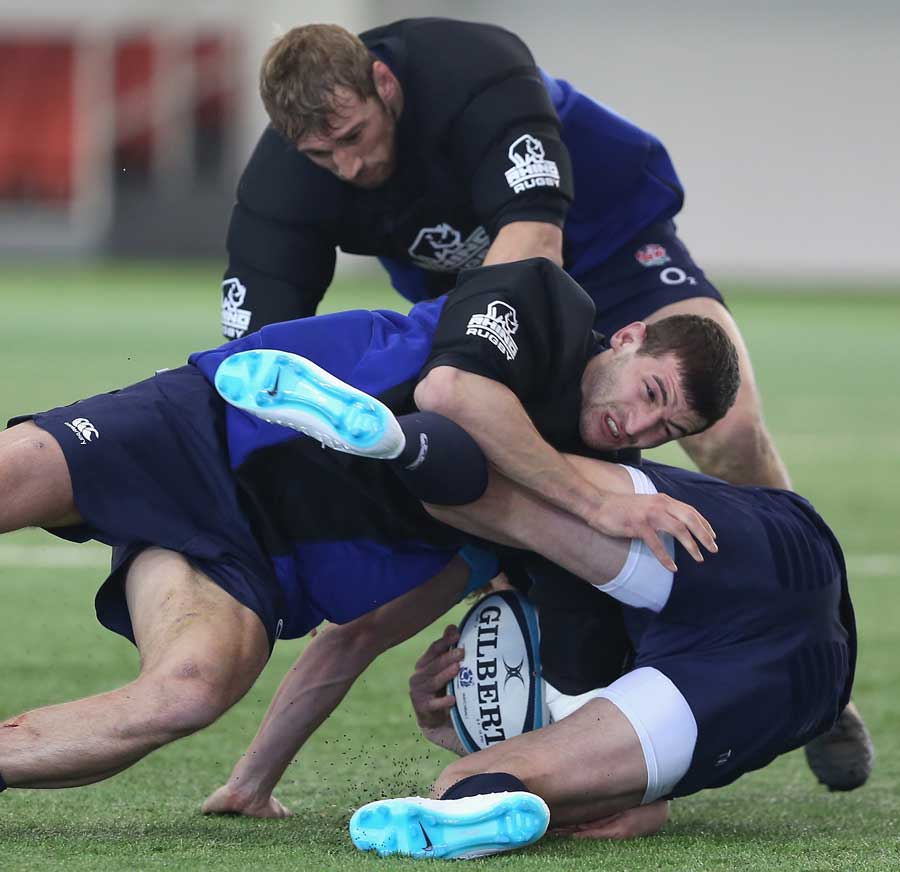England get stuck in during training at St George's Park
