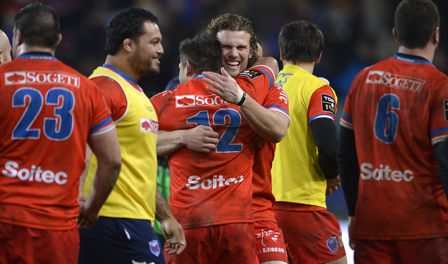 Grenoble celebrate a famous victory over league-leaders Clermont