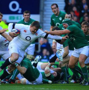 England's David Wilson looks to make some ground, England v Ireland, Six Nations, Twickenham, February 22, 2014