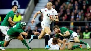 England's Mike Brown breaks the line, England v Ireland, Six Nations, Twickenham, London, February 22, 2014