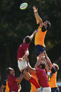 Jacques Potgieter catches a line-out ball at training