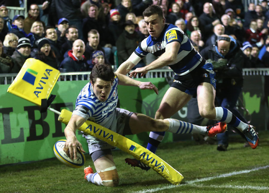 George Ford knocks Joel Tomkins into touch just short of the try line