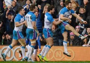 Scotland celebrate Tommy Seymour's try, Scotland v France, Six Nations, Murrayfield, March 8, 2014
