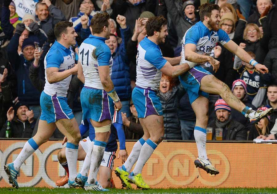 Scotland celebrate Tommy Seymour's try