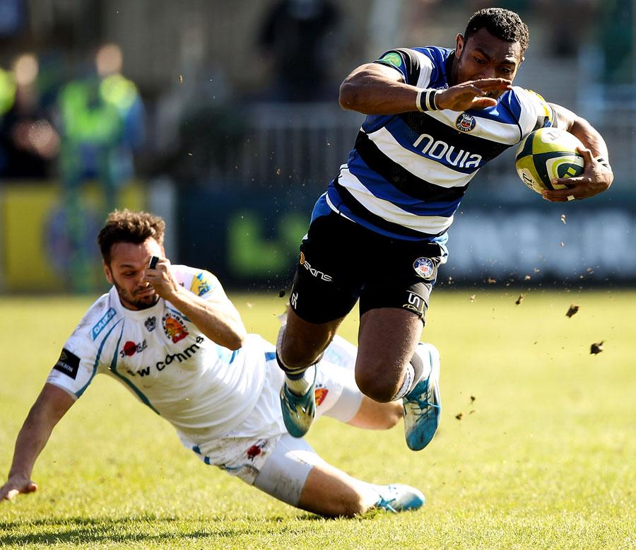 Phil Dollman catches Bath's Semesa Rokoduguni with a tap-tackle