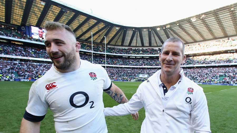 England's Joe Marler is congratulated by Stuart Lancaster