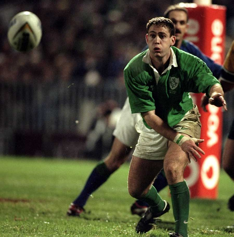 Ireland's Tom Tierney wings the ball out
