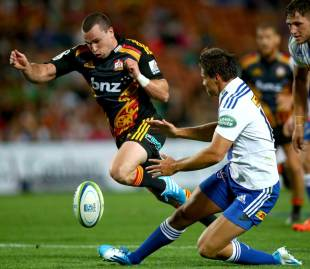The Chiefs' Tom Marshall hacks through against the Stormers, Chiefs v Stormers, Super Rugby, Waikato Stadium, Hamilton, New Zealand, March 14, 2014