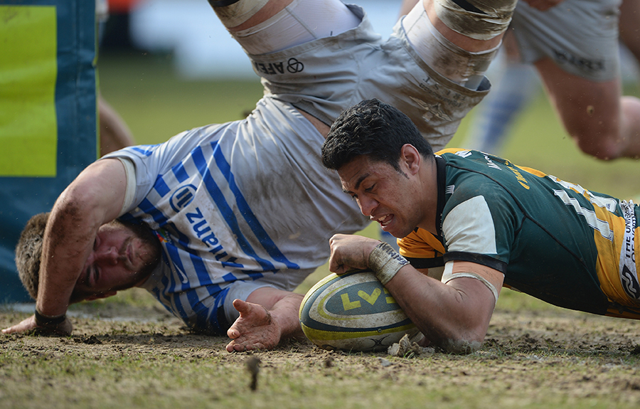 George Pisi scores his third try as Northampton beat Saracens in the LV= Cup semi-final