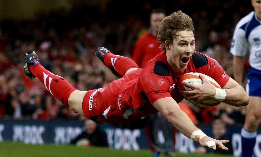 Wales' Liam Williams scores