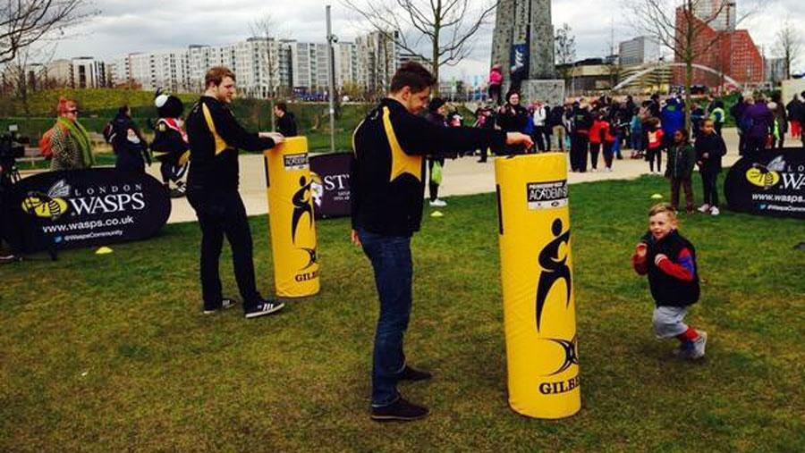 Joe Launchbury and Sam Jones at a Wasps Skill Zone event at London's Olympic Park
