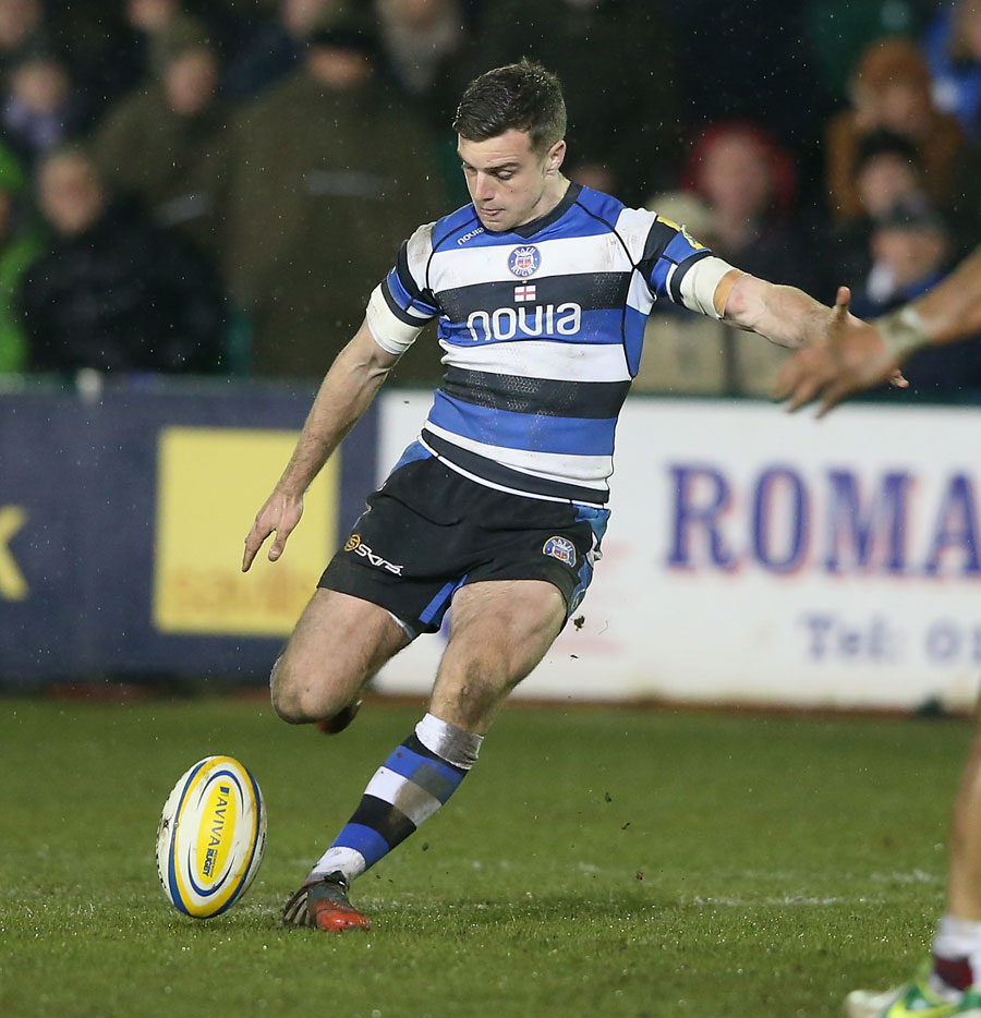 George Ford misses with a drop-goal attempt with the last