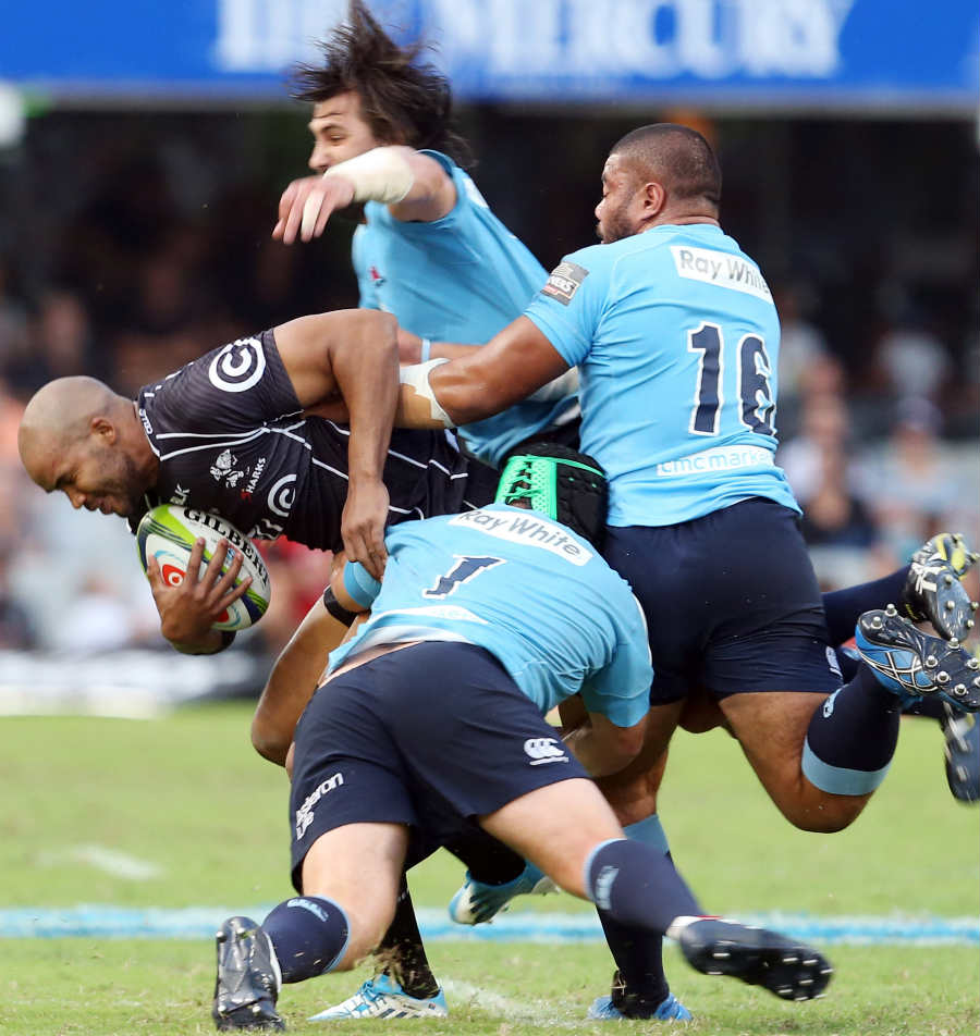 The Sharks' JP Pietersen finds himself at the centre of the Waratahs' attention