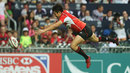 Kosuke Hashino drops the ball as he dives across the line