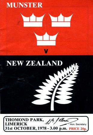 A programme from Munster's win, Munster v New Zealand, Limerick, October 31, 1978