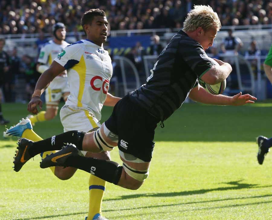 Leicester's Jordan Crane takes flight for their score