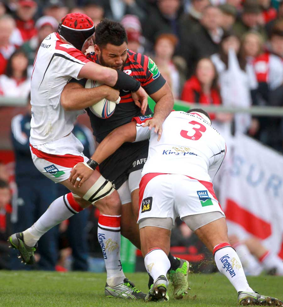 Saracens' Billy Vunipola is halted in his tracks