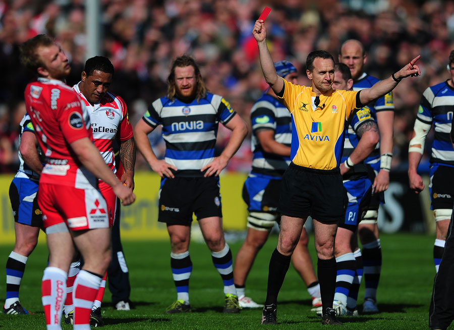 Gloucester's Sila Puafisi is sent off by  Tim Wigglesworth