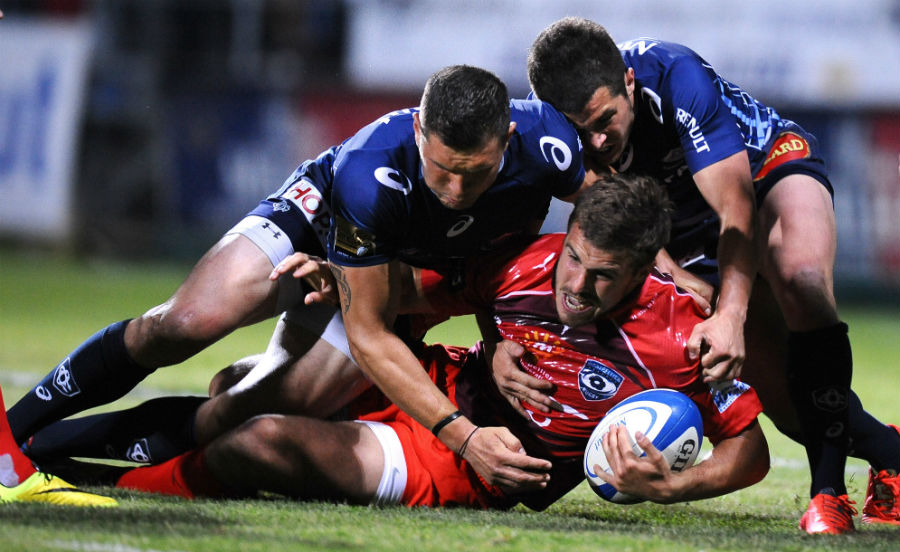 Montpellier fullback Pierre Berard is brought to a halt