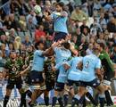 Waratahs' Jacques Potgieter takes a lineout against the Bulls