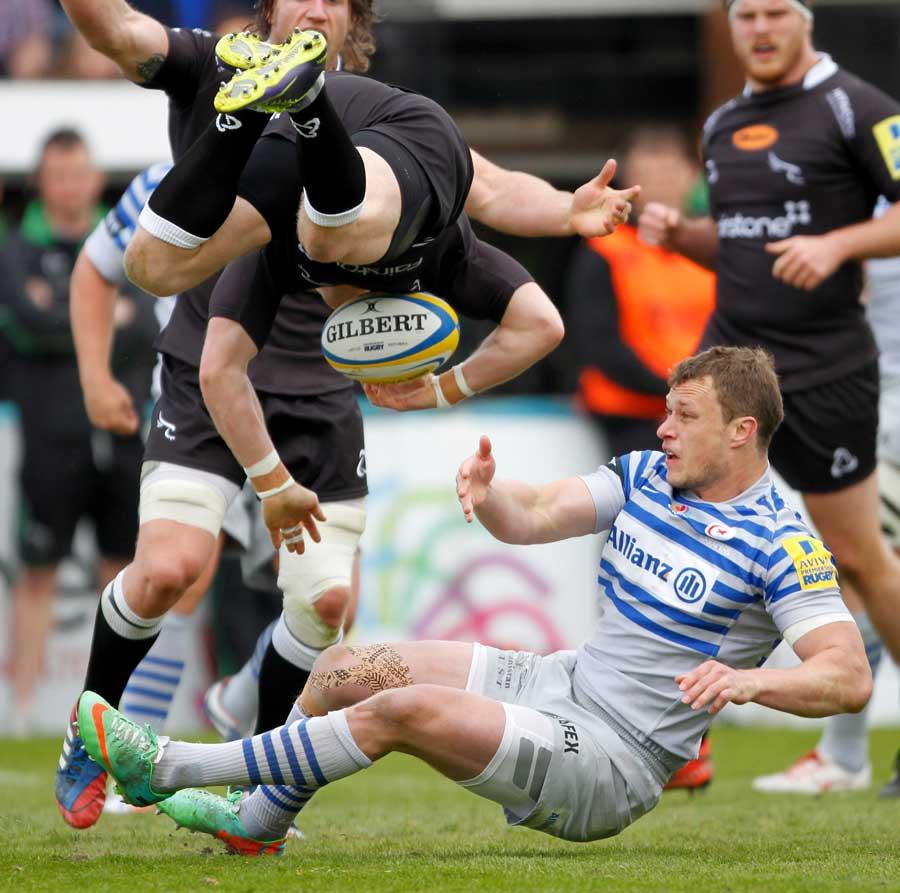 Saracens' Jack Wilson sends Alex Tait flying