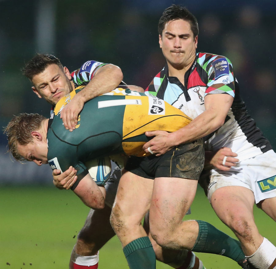 Harlequins do their best to bring Tom Stephenson to ground