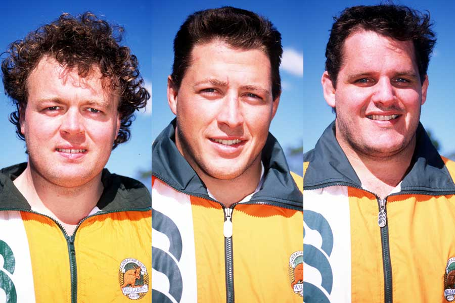 The famous Australian front-row of Tony Daly, Phil Kearns and Ewen McKenzie
