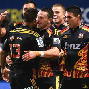 The Chiefs' Tom Marshall (c) gets a pat on the back from Tim Nanai-Williams, Chiefs v Blues, Super Rugby, New Plymouth, May 9, 2014