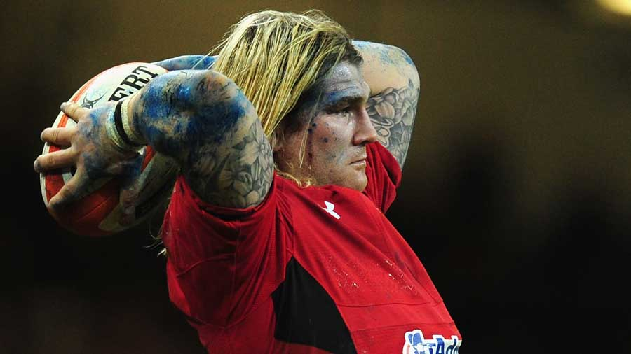 Wales' Richard Hibbard throws in at the lineout