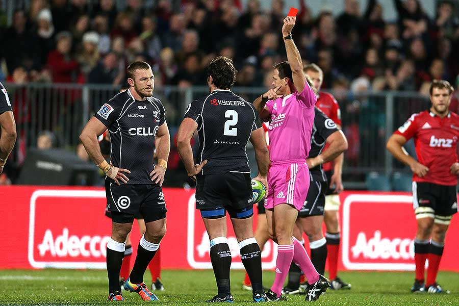 The Sharks' Jean Deysel is red carded by referee Rohan Hoffmann