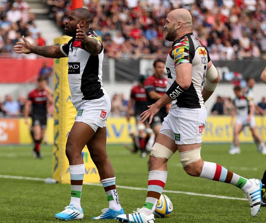Harlequins' Ugo Monye celebrates his try