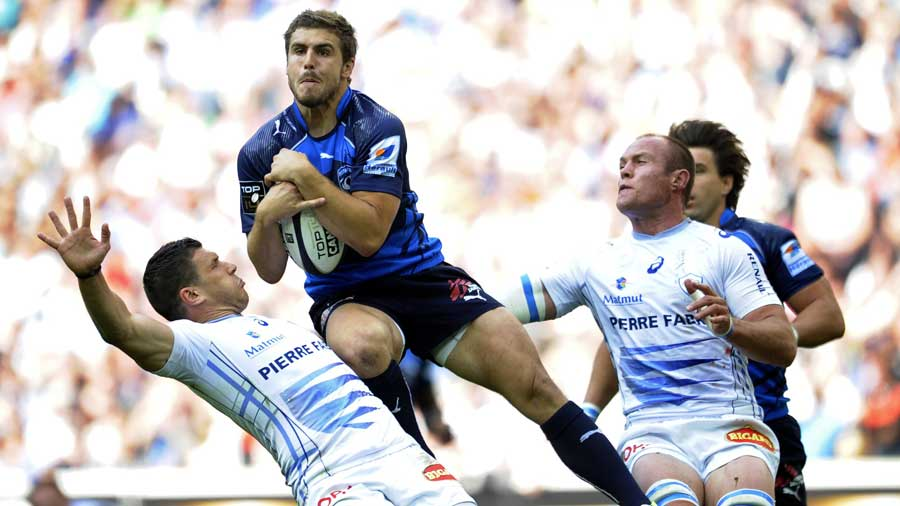 Montpellier's Pierre Berard claims the ball