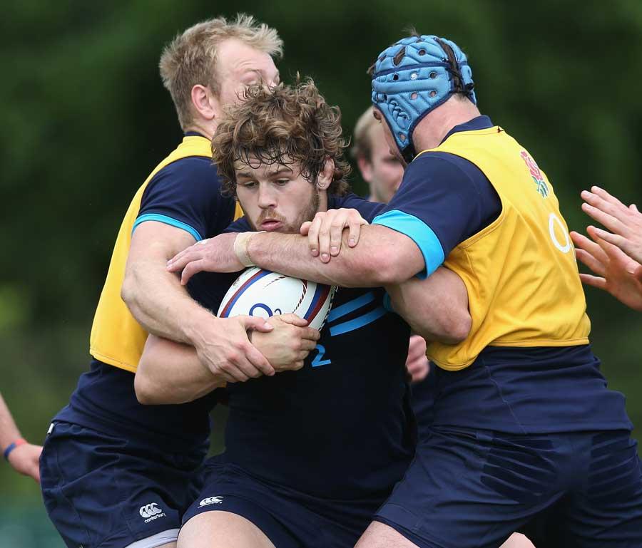 Luke Cowan-Dickie tries to break through the tackle in training