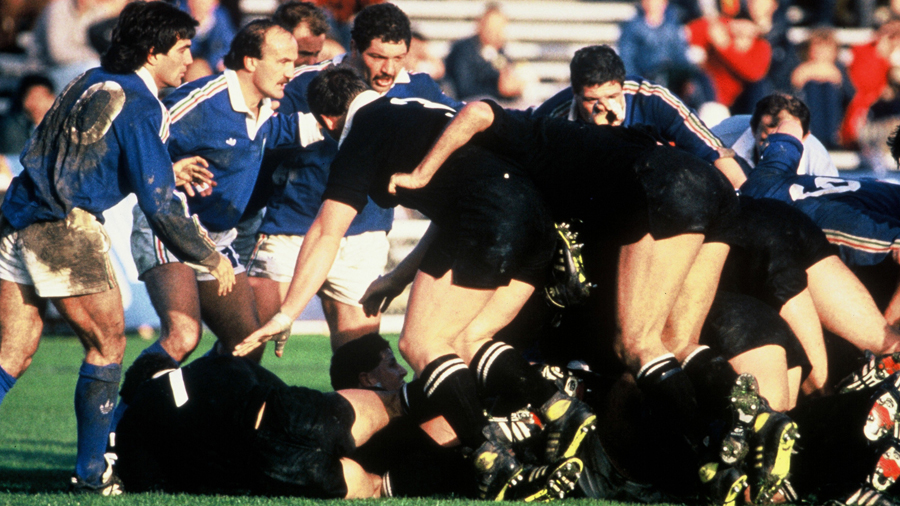 The All Blacks pile forward on their way to a resounding win