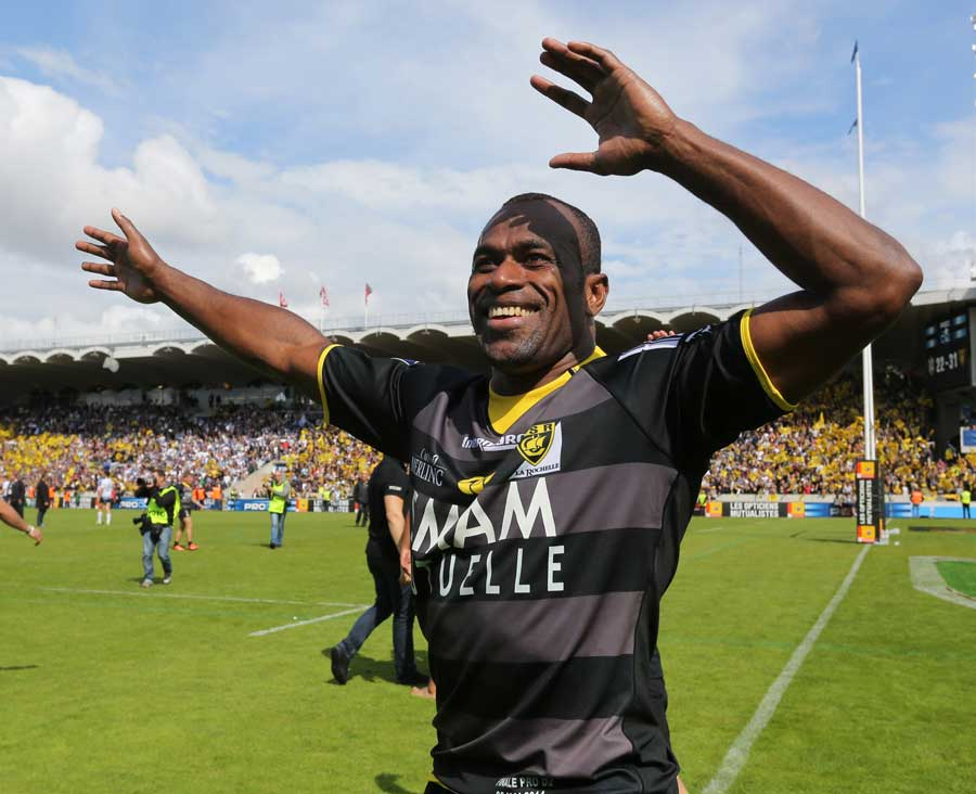 La Rochelle's Sireli Bobo celebrates promotion to the Top 14