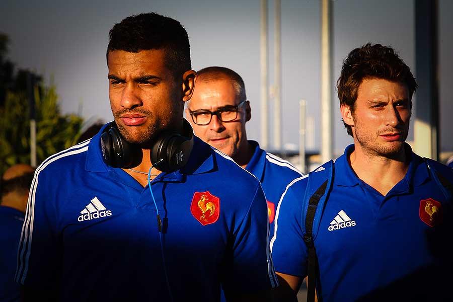 France's Wesley Fofana and Hugo Bonneval arrive at Brisbane International Airport