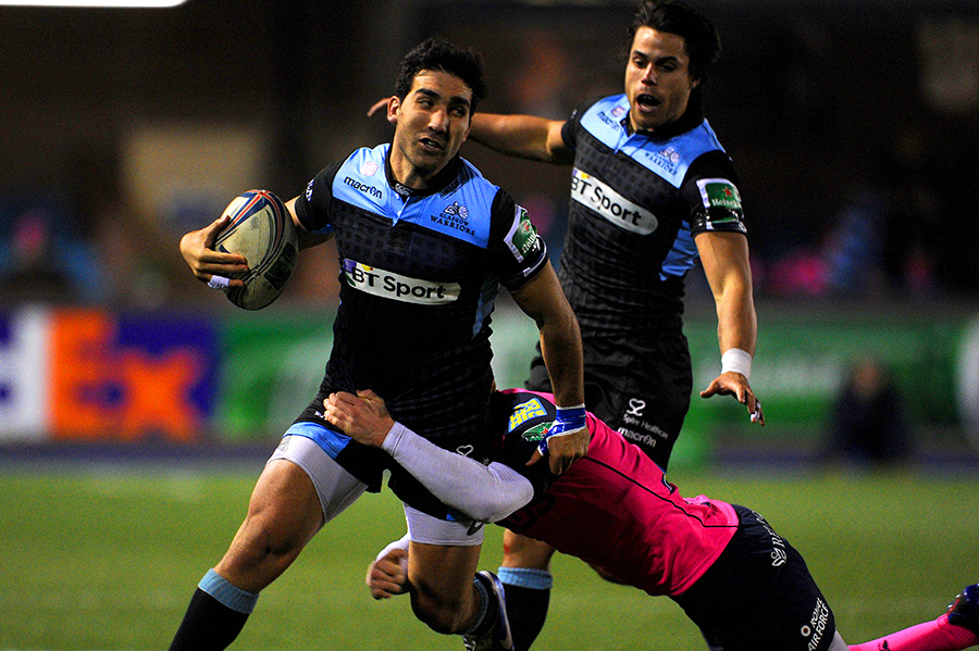 Glasgow's Gabriel Ascarate is tackled against Cardiff Blues
