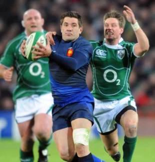 France's center Florian Fritz vies with Ireland's fly half Ronan O'Gara. Ireland v France, Six Nations, Croke Park, Feb 7 2009