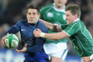 France centre Florian Fritz contends with Ireland fly-half Ronan O'Gara